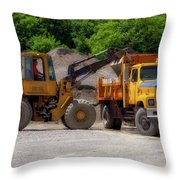 Gravel Pit Loader And Dump Truck 01 Throw Pillow