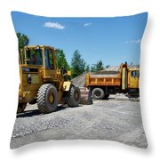Gravel Pit Loader And Dump Truck 03 Throw Pillow