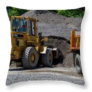 Gravel Pit Loader And Dump Truck 04 Throw Pillow