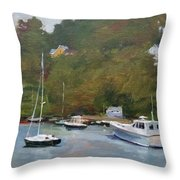 Gray Afternoon At Rockport Harbor Throw Pillow