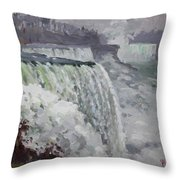 Gray And Cold At American Falls Throw Pillow