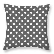 Gray And White Polka Dots Throw Pillow