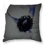 Gray Blue Poppy Throw Pillow
