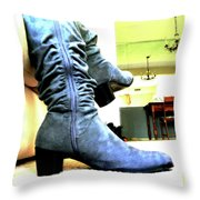 Gray Boots Throw Pillow
