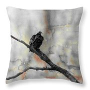 Gray Day Vulture Throw Pillow
