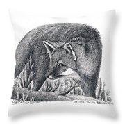 Gray Fox Throw Pillow