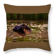 Gray Heron Throw Pillow
