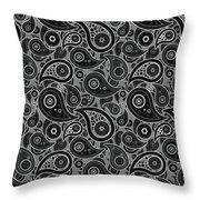 Gray Paisley Design Throw Pillow