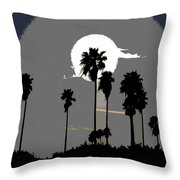 Gray Palms Throw Pillow