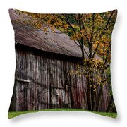 Gray Weathered Barns Number Three Throw Pillow