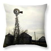 Gray Windmill Throw Pillow