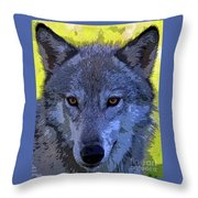 Gray Wolf Portrait Throw Pillow