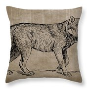 Gray Wolf Timber Wolf Western Wolf Woods Texture Throw Pillow