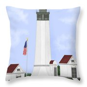 Grays Harbor Light Station Historic View Throw Pillow