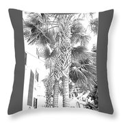 Grayscale Palm Trees Pen And Ink Throw Pillow