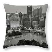 Grayscale Pittsburgh Throw Pillow