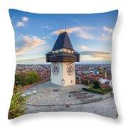 Graz Sunset Panorama Throw Pillow