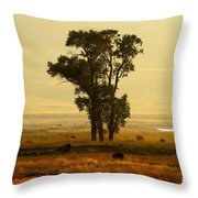 Grazing Around The Tree Throw Pillow