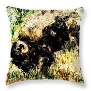 Grazing Bison Throw Pillow