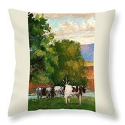 Grazing By Our Creek Throw Pillow