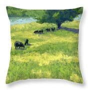 Grazing By The Bear River Throw Pillow by David King