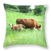 Grazing Cow And Calf Throw Pillow