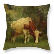 Grazing Cow Throw Pillow