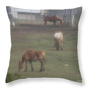 Grazing Horses Throw Pillow