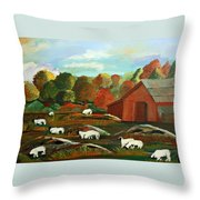 Grazing Sheep Throw Pillow