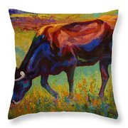 Grazing Texas Longhorn Throw Pillow