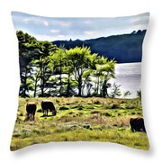 Grazing With A View Throw Pillow