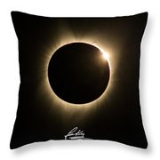 Great American Eclipse Diamond Ring 5x7 As Seen In Albany, Oregon.  Signature Edition Throw Pillow