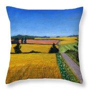 Great Bedwyn Wheat Fields Painting Throw Pillow