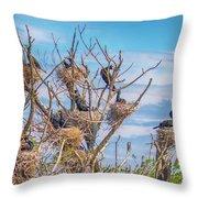 Great Black Cormorants Colony - Danube Delta Throw Pillow