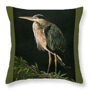 Great Blu Heron Throw Pillow