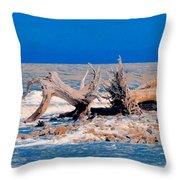 Great Blue Driftwood Throw Pillow