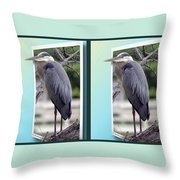 Great Blue Heron - Gently Cross Your Eyes And Focus On The Middle Image Throw Pillow