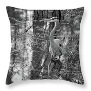 Great Blue Heron And Reflection-black And White Throw Pillow