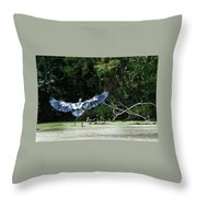 Great Blue Heron And Wood Ducks Throw Pillow