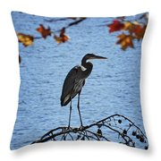 Great Blue Heron At Shores Of King's Mountain Point Throw Pillow