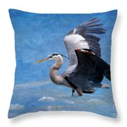 Great Blue Heron  Throw Pillow by Betty LaRue
