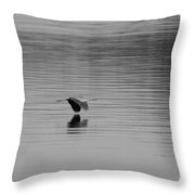 Great Blue Heron Black And White Throw Pillow