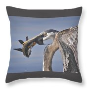 Great Blue Heron Catch Down The Hatch Throw Pillow