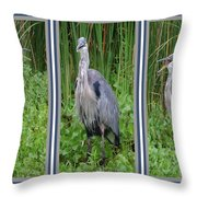 Great Blue Heron Collage Throw Pillow