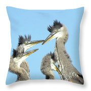 Great Blue Heron Discussion Throw Pillow