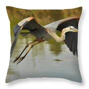 Great Blue Heron Flying Across Lake Throw Pillow