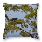 Great Blue Heron In Cypress  Throw Pillow