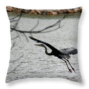 Great Blue Heron In Flight 6 Throw Pillow