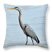 Great Blue Heron In River Throw Pillow