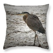 Great Blue Heron In The Snow Throw Pillow